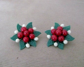 Vintage Christmas Earrings, 1960's Red Holly Berry Celluloid Earrings, Clip On Earrings, 1960's Christmas, Holiday Jewelry