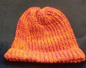 Hand knit mauve orange purple stocking cap
