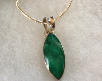 Emerald Gemstone Pendant Necklace in Sterling Silver Setting 18""