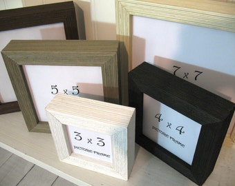 DEEP PROFILE BARNWOOD Square Frame 3x3 4X4 5x5 6x6 7x7 Black White Brown Grey Cream Instagram Photo Picture Frame Empty Shadowbox Barn Wood