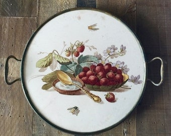 Antique Trivet - Porcelain with Strawberries/Cream Pattern