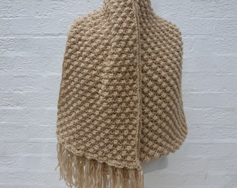 Chunky long scarf beige vintage handmade fringed accessory winter neckwarmer mens gift womens vintage scarf soft texture 1990s accessories.