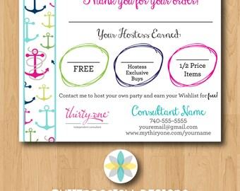 Thirty-One Customer Bag Tag Anchors Postcards - Printable/Digital File