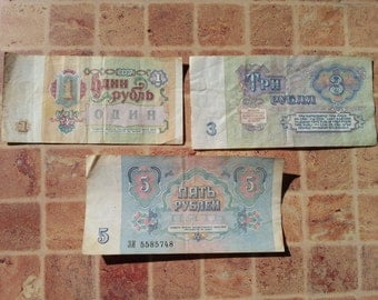 Set of 3 Soviet Vintage Rubles Banknotes Issues in 1961 and 1991