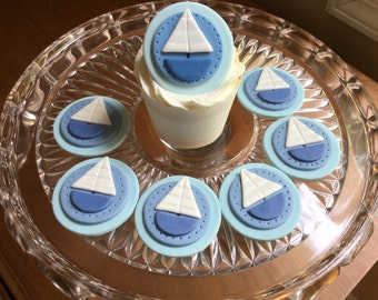 Sailboat Cupcake or Cookie Toppers - White Chocolate  and Fondant