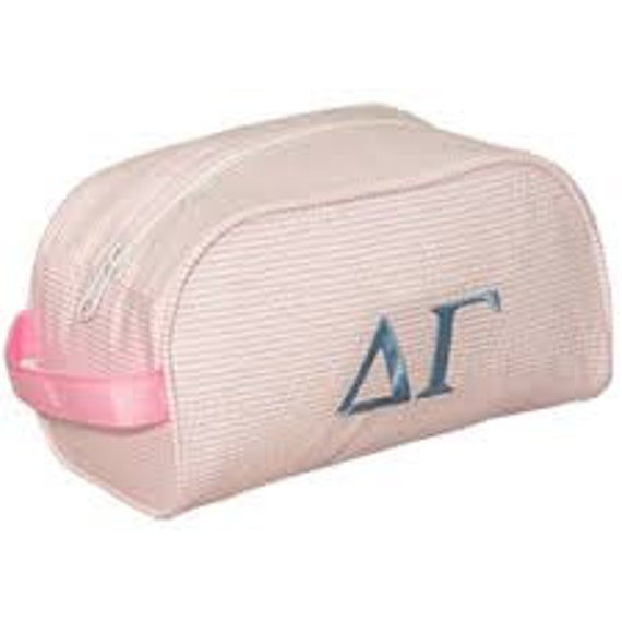 Monogrammed Pink and White Seersucker Cosmetic Bag