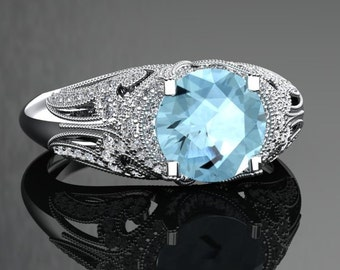 Aquamarine Engagement Ring Aquamarine Ring 14k or 18k Black Gold VS1AQUAW