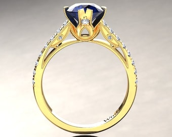 Blue Sapphire Engagement Ring Blue Sapphire Ring 14k or 18k Yellow Gold Matching Wedding Band Available W2BUY