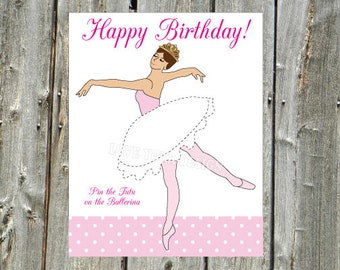 Pin the Tutu on the Ballerina Game INSTANT DOWNLOAD jpeg files