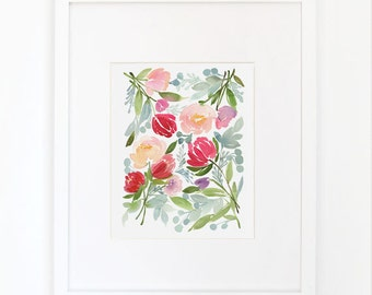 Spring Flora in Turquoise - Watercolor Art Print