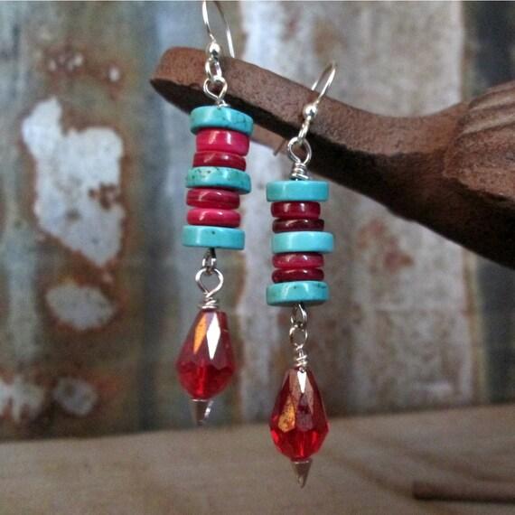 Turquoise Beaded Earrings, Red Beaded Earrings