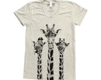 GIRAFFE Shirt Screen Print Tri-Blend Short Sleeve Tshirt Available: S, M, L, XL
