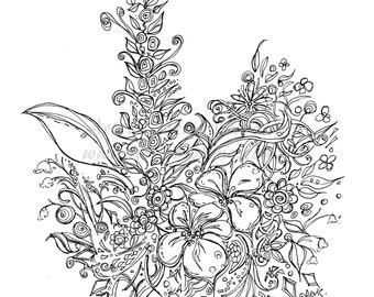 Exotic Hawaii Flowers Printable Page Adult Coloring Illustrator Instant Download PDF