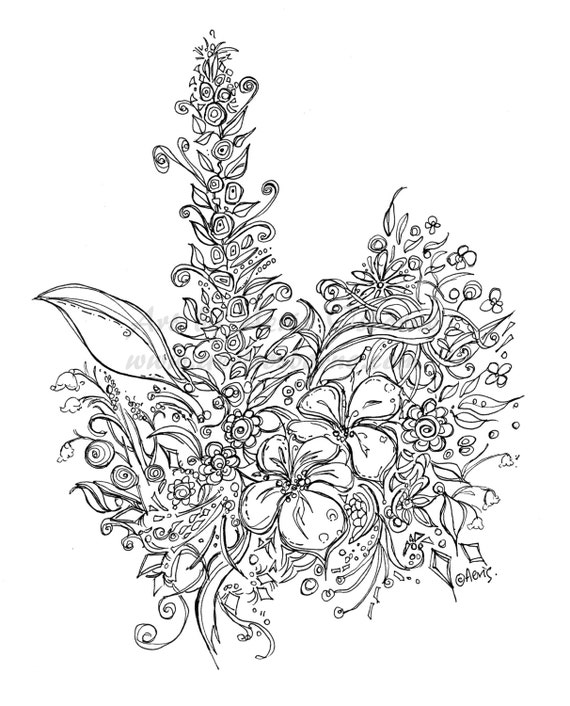 Exotic Hawaii Flowers Printable Page Adult Coloring