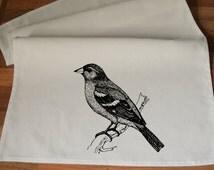 Chaffinch Bird- - Handmade Screen Printed Tea Towel 100% Cotton - One Towel