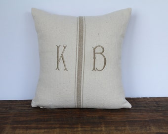 Grain Sack Monogrammed Pillow Cover, Farmhouse Pillow Cover, French Pillow Cover, Decorative Pillow Cover, Custom Couch Pillow, TAN FISHTAIL