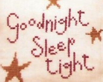 Bent Creek Twinkle Twinkle Counted Cross Stitch Pattern Primitive Charted Design Alphabet Sampler Goodnight Sleep Tight Rare Out of Print