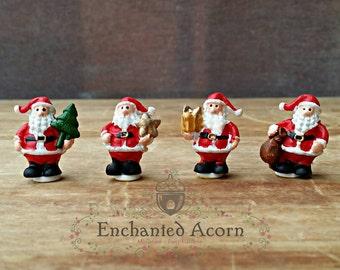 Miniature Santa - Set of 4 Miniature Santas, Mini Santas, Mini Christmas, Christmas Crafts, Christmas Miniatures, Crafts for Kids