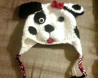 Crochet dalmatian  hat, crochet hat, Dalmation Puppy Earflap Hat Boy Girl  Photo Prop Halloween Costume Winter newborn  hat photography prop