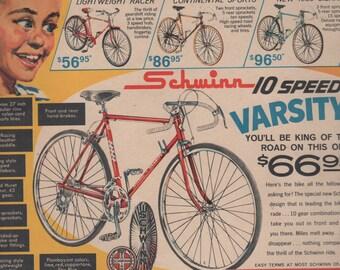 "11/1963 Schwinn  Bikes  Ad from BOY'S LIFE Magazine 10x13"""