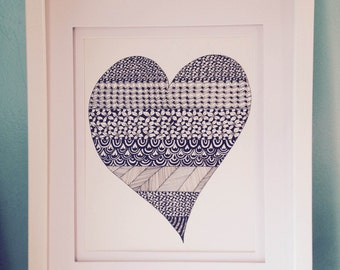 Heart Original Ink Drawing, Zentangle Inspired Art, Valentine Art Illustration