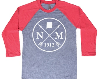 Homeland Tees New Mexico Arrow Tri-Blend Raglan Baseball Shirt