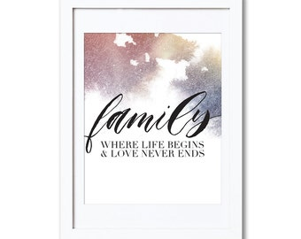 """Family, A4 8x10"""" A3 or 11x14"""", printed"""