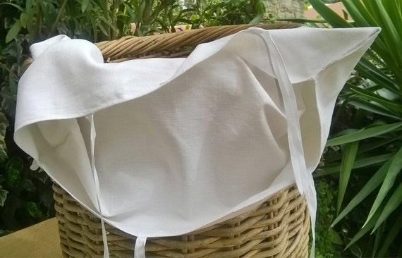 Victorian White Linen Laundry Bag Antique 19th Century French Textile Bag Monogrammed #sophieladydeparis