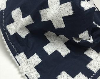 Navy Baby Blanket - Navy Blue - Baby Blanket - Cross