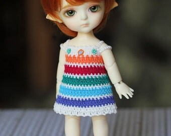 Off-withe-rainbow dress for pukifee and lati yellow