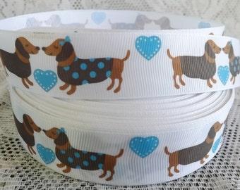 1 inch Dachshund ribbon dachshund dog ribbon Dachshund grosgrain ribbon doxie ribbon