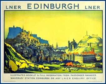 Art Print Scotland Edinburgh Travel Poster -  1920s London & North Eastern Railways LNER - Poster Print 8 x 10