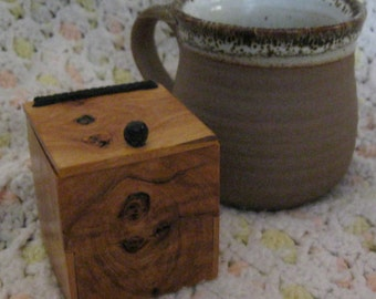 Hand-Crafted Miniature Box (ash, leather) BX-28