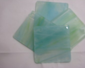 Teal and White 4X4 Fused Glass Coasters - Set of 4