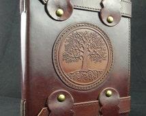 OAK TREE Handmade Journal Diary Sketchbook - Tab-Lock Fastening, Cartridge Paper - Freepost UK
