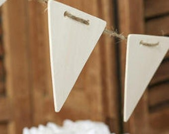 Unfinished Wood Banner with Twine - Triangle 3.25 x 3.5 inches