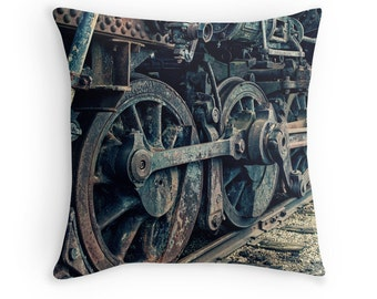 Train Wheel Photo Pillow Cover, Vintage Rusted Train, Man Cave Art Pillow, Manly Decor, Industrial Chic, Steampunk decor, Modern Industry
