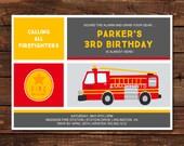 Fire Truck Birthday Invitation PRINTABLE | Firefighter | Boy Birthday | Girl Birthday | Kids Birthday | Invitations