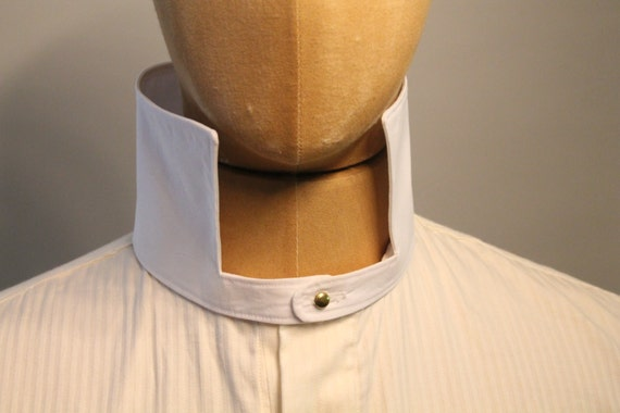 Victorian Men's Shirts- Wingtip, Gambler, Bib, Collarless detachable standing collar victorian style collar $41.58 AT vintagedancer.com