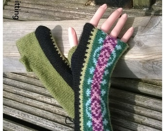 Fair Isle Fingerless Handwarmers,fingerless gloves,wrist warmers. Ideal for gift. Made from 100% Shetland wool knitted in Shetland