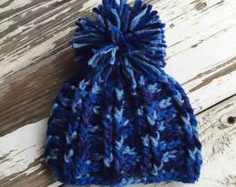 Alpine Boys Pom Pom Beanie / Ski Hat / Newborn Photo Prop / Toddler Hat / Child Hat / Sitter Session Sizes Newborn to Adult MADE TO ORDER