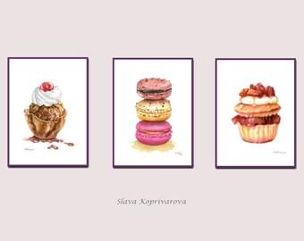 SET of 3 watercolor painting prints -  Dessert art -  Set art prints - Sweet food illustration - Food art print - Home wall art