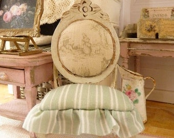 Miniature chair in wood, Napoleon III, Toile de Jouy, Green and white stripes, Shabby white, French dollhouse furniture in 1:12th scale