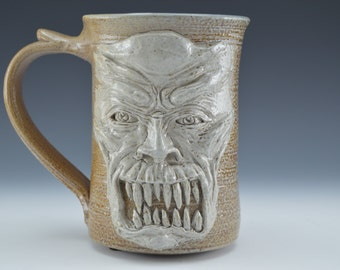 Monster Face Clay Mug