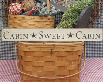 """Cabin Sweet Cabin painted wood sign 2.5"""" x 20"""" choice of color"""