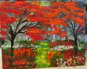 SHOP SALE! Original Acrylic Framed Painting Autumn Leaves