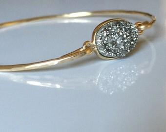 Silver Drusy Bracelet / Gold Filled Druzy Bangle / Gold Bangle/Grey  Druzzy Bangle / Silver and Gold Holiday /.