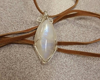 Moonstone Cabochon Wire Wrapped in Argentium Sterling Silver, Vegan Suede Cord