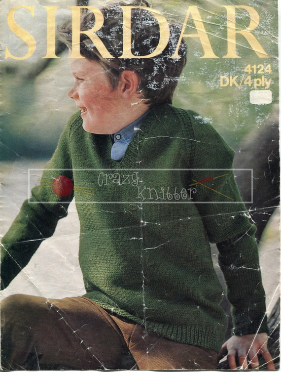 "Child's Raglan Sweater 24-30"" 4ply DK Sirdar 4124 Vintage Knitting Pattern PDF instant download"
