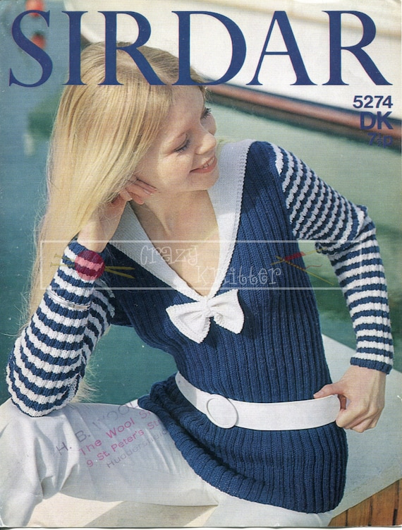"Lady's Nautical Sweater 32-38"" DK Sirdar 5274 Vintage Knitting Pattern PDF instant download"